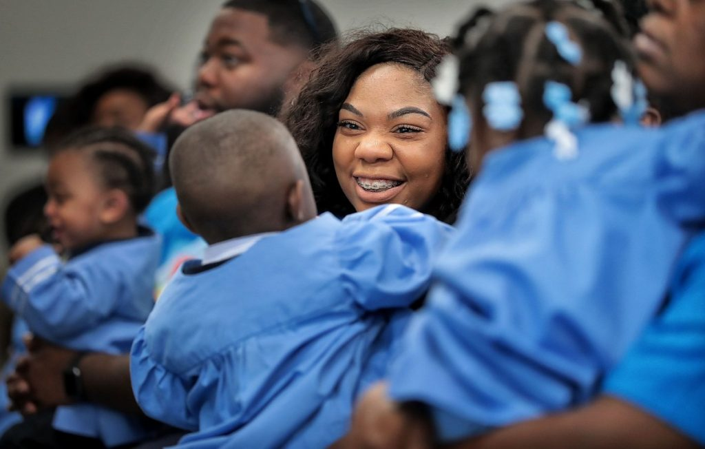 Jasmine Bailey plays with her son Isaiah Davis, 2, during a graduation ceremony for parents and kids in the Nurse-Family Partnership, which links first-time mothers to nurses who guide them through early child development. (Jim Weber/Daily Memphian)