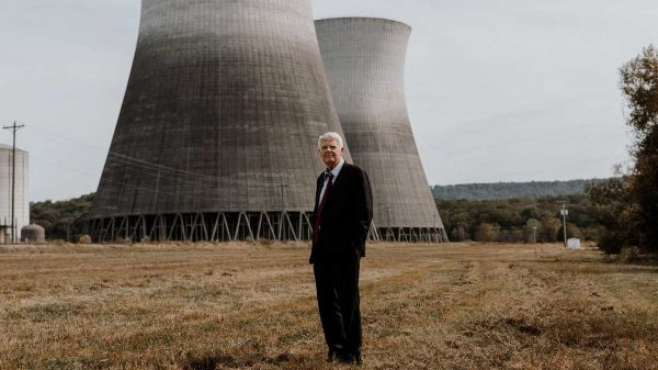 Millionaire developer Franklin Haney stands in front of the Bellefonte Nuclear Plant in Hollywood, Ala. Haney purchased the plant at auction in 2016 for $111 million, and his plan to make Bellefonte operational again and sell power to Memphis hinges on raising billions of dollars and overcoming some stiff opposition. (Houston Cofield/Daily Memphian)