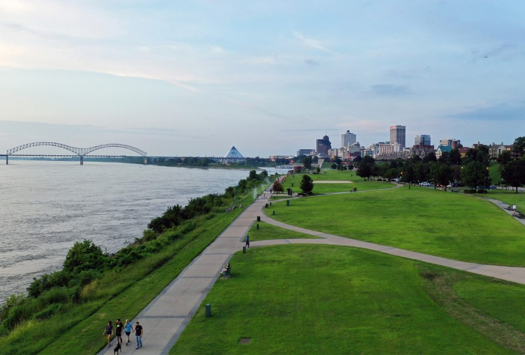 <strong>The Memphis skyline as seen from Tom Lee Park on the evening of Sunday, Aug. 11, 2019.</strong> (Patrick Lantrip/Daily Memphian)
