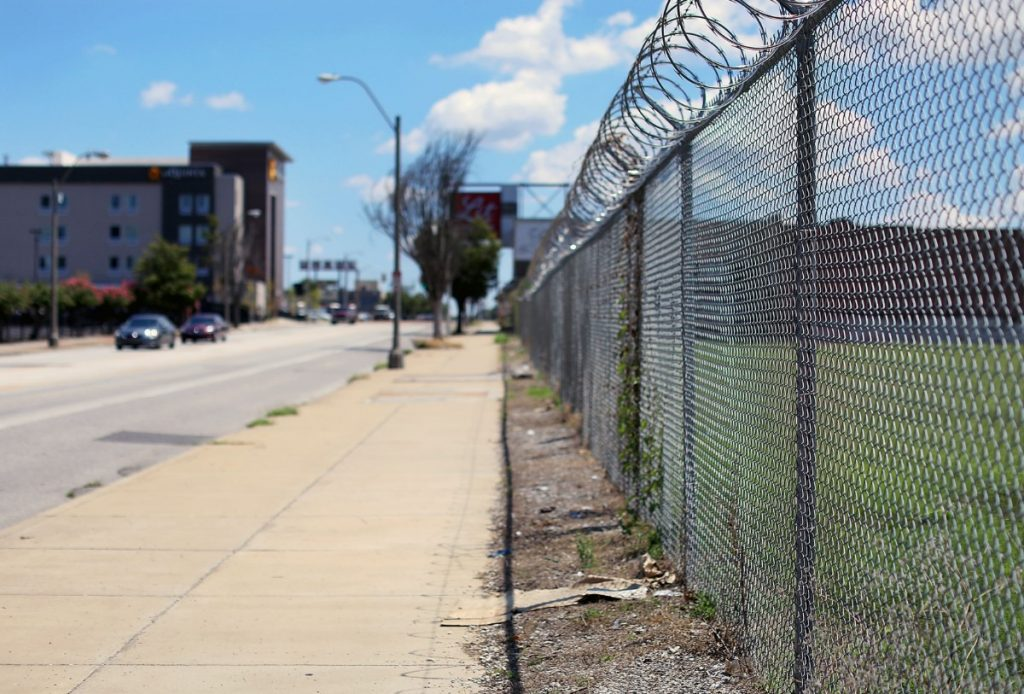 Amid razor wire and vacant lots, Union Row's developers imagine an area akin to the Atlanta's Avalon, a $1 billion mixed-use development built on 86 acres and marked by sweeping open spaces. (Patrick Lantrip/Daily Memphian)