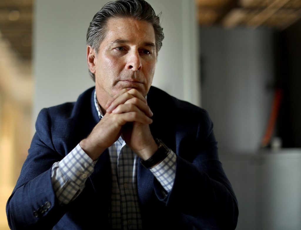 Kevin Adams discusses his planned Union Row development and his past business dealings at the Midtown office of Loaded for Bear, a public relations firm. (Patrick Lantrip/Daily Memphian)