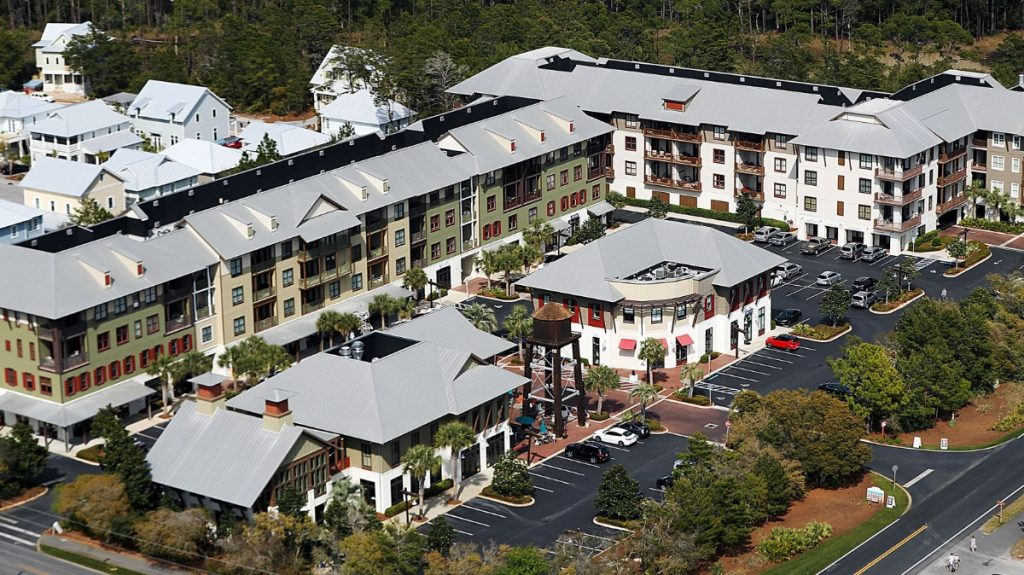 Redfish Village at Blue Mountain Beach, Florida, covers eight acres and includes a tony commercial strip, a contoured pool, a private dock on Big Redfish Lake and 80 luxury condominium units with private beach access. (Patrick Lantrip/Daily Memphian)