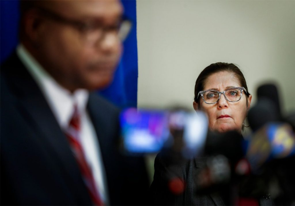 Shelby County Health Department Director Alisa Haushalter (right) attends a press conference on the coronavirus outbreak on Wednesday, April 1, 2020. (Mark Weber/Daily Memphian)