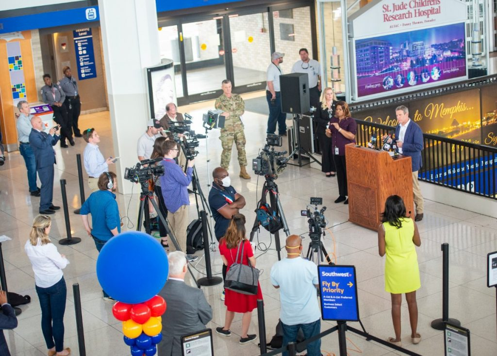 Governor Bill Lee holds his daily press briefing on the Covid 19 virus at the Memphis International Airport Friday, March 27, 2020. The press practiced social distancing while covering the press conference. (Greg Campbell/Special for The Daily Memphian)