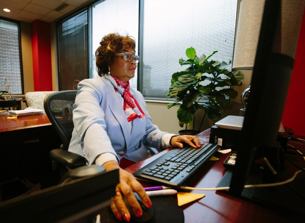 Greater Memphis Chamber President and CEO Beverly Robertson went into the Downtown Memphis office to take care of some business on April 12, 2020. (Ziggy Mack/Special to The Daily Memphian)