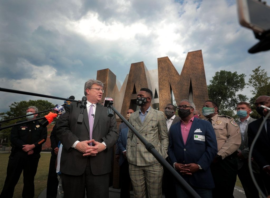 Memphis mayor Jim Strickland and DeVante Hill spoke at a press conference at I Am A Man Plaza June 3, 2020. (Patrick Lantrip/Daily Memphian)