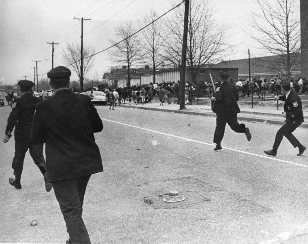 <strong>Tensions were high the morning of March 28, 1968, with police officers chasing childrenat Hamilton High School</strong><span><strong>prior to the riot that erupted out of Martin Luther King Jr.'s last demonstration. He was assassinated in Memphis one week later.</strong> (Courtesy of Preservation and Special Collections Department, University Libraries, University of Memphis – Press Scimitar collection)</span>