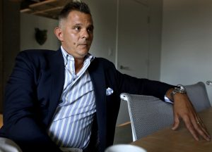 David Dlugolenski discusses his massive Union Row development at the Midtown offices of Loaded for Bear, a public relations firm. (Patrick Lantrip/Daily Memphian)