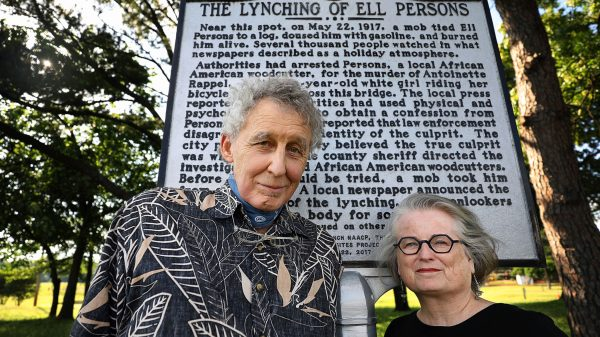 Rev. Randall Mullins and his wife, Sharon Pavelda, with the Lynching Sites Project of Memphis, stand in front of the Ell Persons historic maker. The couple launched the project in 2016, with help from retired professors Tom Carlson and Margaret Vandiver, and retired oceanographer George Grider. Their goal is to locate and memorialize the site of every post-Civil War lynching in Shelby County. (Patrick Lantrip/Daily Memphian)