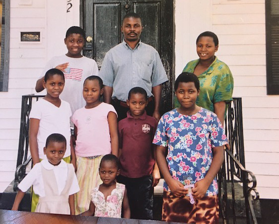 The Ndikumana family pose a month after they arrived in Memphis in the summer of 2007. Bottom row (from left, bottom row) Elice, Salama, (middle row) Deniza, Neema, John, Necode, (top row) Thomas, Paul, Fabiola. (Ndikumana family photo)