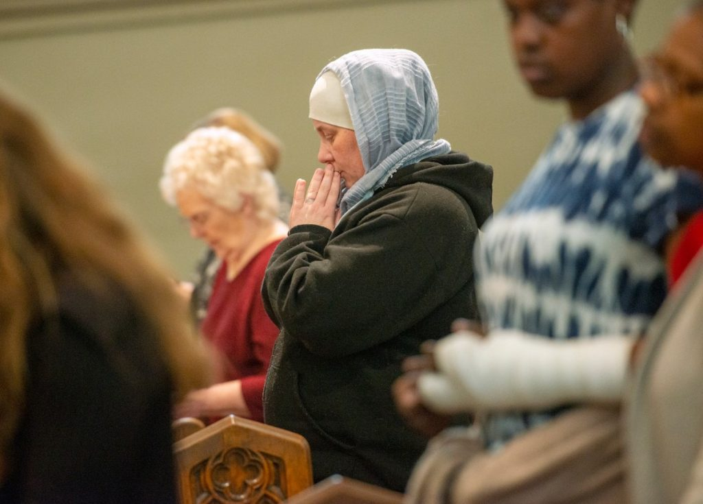 Monika Coats prays during the mass marking the 180th anniversary of the first Catholic Mass in Memphis, Sunday, Nov. 17, 2019 at St. Peter Church. (Greg Campbell/ Special for The Daily Memphian file )