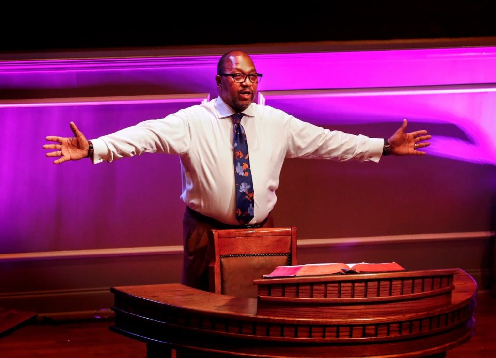 First Baptist Broad Senior Pastor Keith Norman directs his staff before a taping of a bible study session on Tuesday, March 31, 2020. (Mark Weber/ The Daily Memphian)