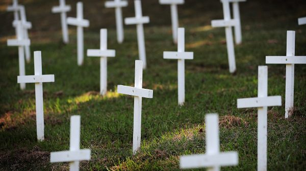 A clutch of small crosses; since the beginning of the local COVID-19 outbreak, more than 100 people have lost their lives. (Jim Weber/Daily Memphian file)