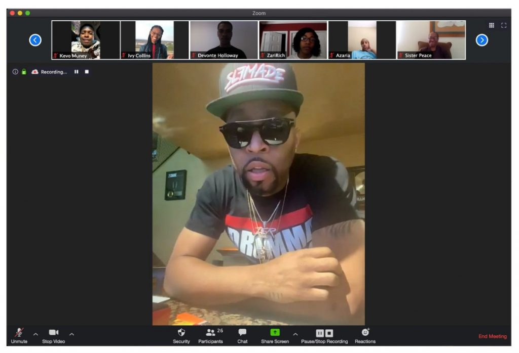 """During a virtual class session on April 29, 2020, students of East High interacted with veteran producer Christopher """"Drumma Boy"""" Gholson. Drumma Boy shares with the students how he used his art (music) to transform the pain of losing his brother to gun violence and created his album """"My Brother's Keeper"""" as a response to help himself heal. (Submitted by Grounded)"""