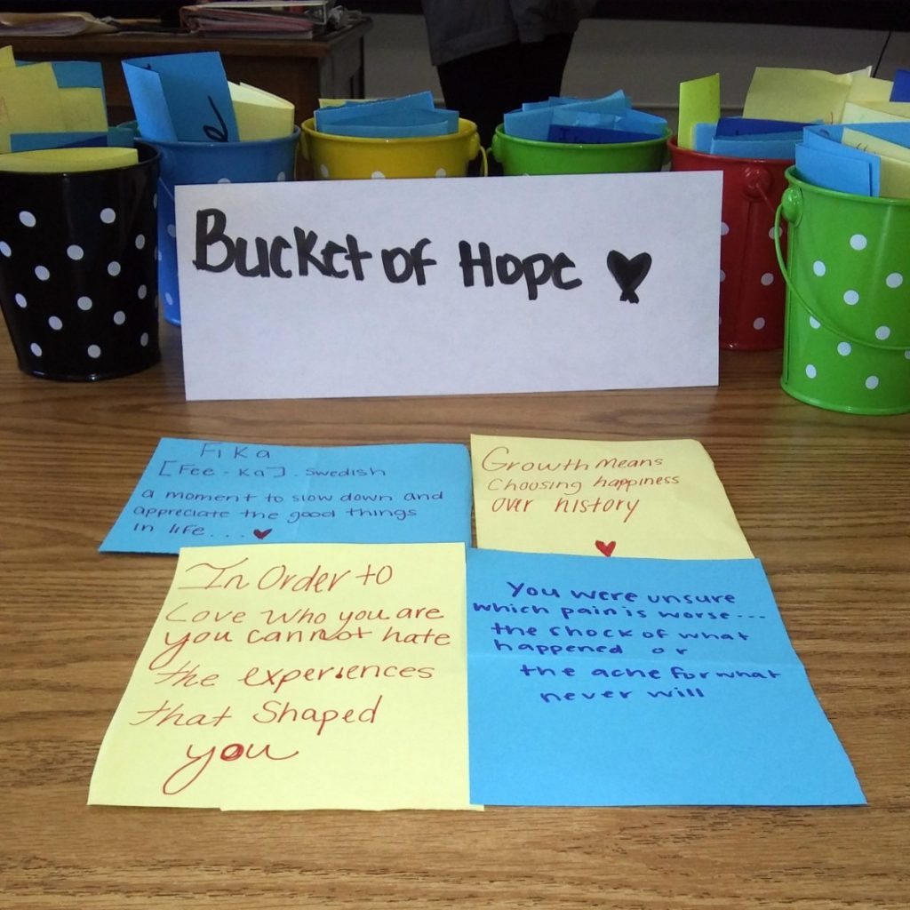 """Inspired by the """"Me and the Light"""" film and its theme of using creativity to make a positive community impact, East High student and Grounded Ambassador DT Peterson started a """"Make a Change"""" campaign in his school. He and fellow students placed """"Buckets of Hope"""" throughout the school and filled them with inspiring quotes which students and faculty could draw from or add to anytime they needed some encouragement. When COVID-19 closed schools, DT and the Grounded team developed a plan to continue creating virtual Buckets of Hope. DT shares, """"It's ok. Remember you are loved and greatness is coming your way."""" (Courtesy of Bridget Riley)"""