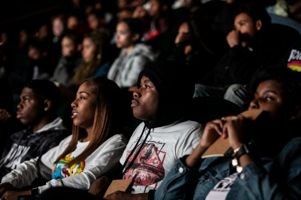 """East High School students watch a screening of """"Me and the Light"""" at Malco Paradiso Jan. 27, 2020, before returing to school for followup activities. (Photo by Andrea Morales)"""
