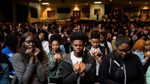 "On January 27th, 2020, Grounded launched a pilot curriculum program at East High School in Memphis, bringing artists, luminaries and partners together with over 500 students, faculty and staff members. The entire school loaded into buses and took a field trip to Malco Paradiso to view Grounded's unreleased film, ""Me and the Light."" After the screening, The Grounded team spent the entire day with the students at East High connecting with them, engaging in discussion and sharing their own forms of creative expression. To close the day's events, East High students participated in a movement arts exercise to promote peace led by Memphis Jookers Lil Buck and Marico ""Dr. Rico"" Flake. (Photo by Andrea Morales)"