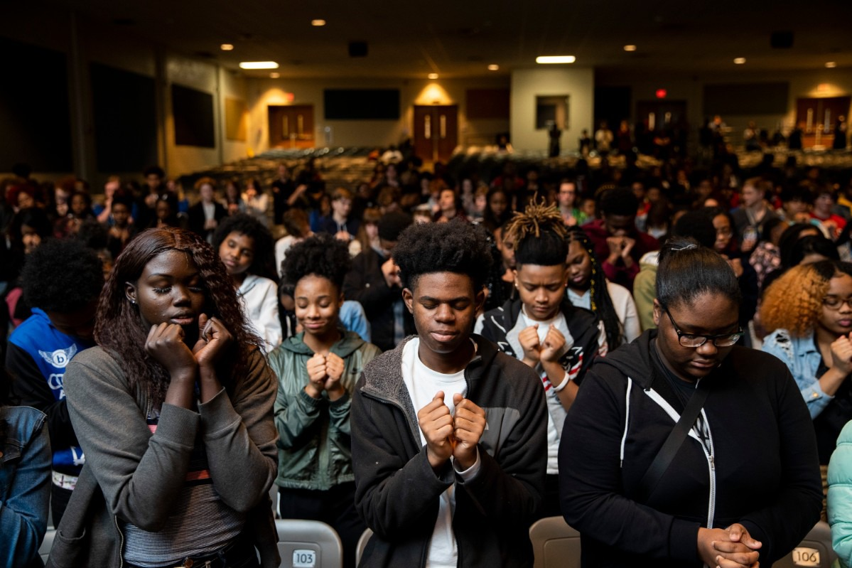 """On January 27th, 2020, Grounded launched a pilot curriculum program at East High School in Memphis, bringing artists, luminaries and partners together with over 500 students, faculty and staff members. The entire school loaded into buses and took a field trip to Malco Paradiso to view Grounded's unreleased film, """"Me and the Light."""" After the screening, The Grounded team spent the entire day with the students at East High connecting with them, engaging in discussion and sharing their own forms of creative expression. To close the day's events, East High students participated in a movement arts exercise to promote peace led by Memphis Jookers Lil Buck and Marico """"Dr. Rico"""" Flake. (Photo by Andrea Morales)"""