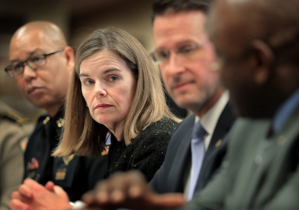 """Michael Dunavant, U.S. Attorney for Western Tennessee (right, in a press conference file photo with Memphis Police Director Michael Rallings (left) and Shelby County District Attorney Amy Weirich) said in a statement released through a spokeswoman that federal investigators """"did not receive a referral on this incident in 2015,'' nor did his office open an investigation """"at that time.'' (Jim Weber/Daily Memphian file)"""