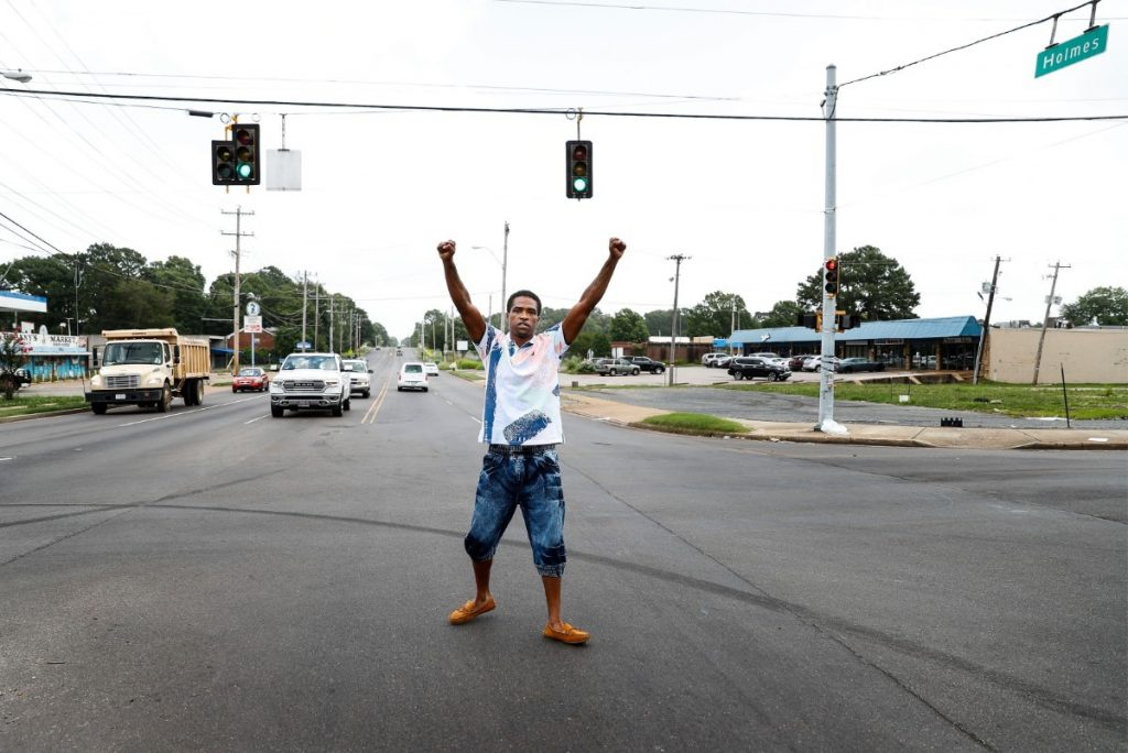 Daniel Jefferson celebrates his release after serving time for the 2015 shooting a plainclothes officer near Mill Branch Road and Holmes Road. He said he did not know the man, who was not wearing a uniform, was a police officer. (Mark Weber/Daily Memphian)