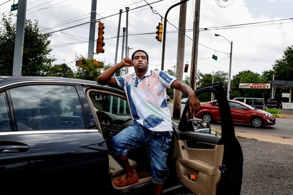 Daniel Jefferson stands near the intersection of Mill Branch Road and Holmes Road after his recent release from jail for the shooting of a police officer in 2015. According Jefferson, roughly a block away he encountered an undercover officer, who approached him with his gun drawn. Jefferson said he shot what he thought was a robber and fled the scene. While in custody, a handcuffed Jefferson was beaten by several officers, who were later suspended for their part in the altercation. (Mark Weber/Daily Memphian)