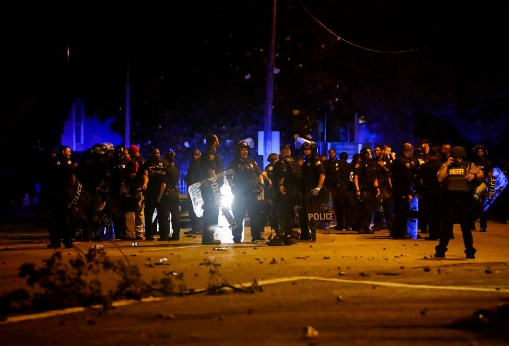 Memphis police maintained a perimeter around the crime scene on June 12, 2019, after protesters took to the streets of Frayser after the shooting of Brandon Webber by U.S. Marshals earlier in the evening. (Mark Weber/Daily Memphian file)