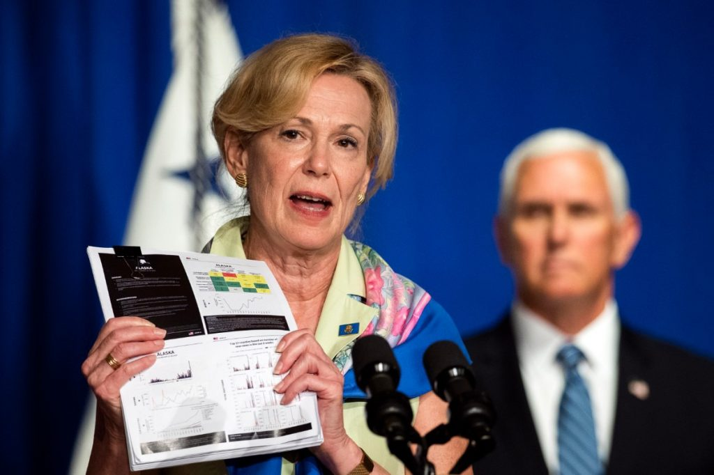 White House coronavirus response coordinator Dr. Deborah Birx (with Vice President Mike Pence during a White House Coronavirus Task Force briefing in Washington, July 8, 2020) told reporters that every school district should have a detailed plan in place for what to do when a student or staff member tests positive for COVID-19. (Manuel Balce Ceneta/AP)