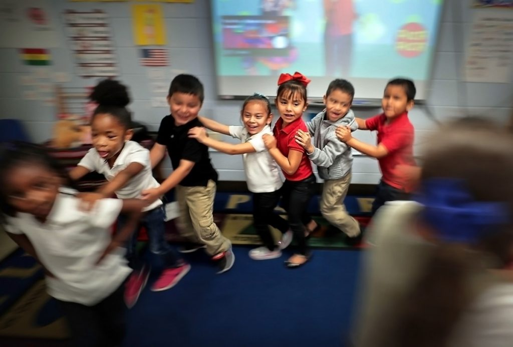 "Treadwell Elementary School kindergartners (in a file photo) dance. ""The reality of reopening school buildings and college campuses is that any missteps could cost lives, particularly among our most vulnerable students and in Black, brown and poor communities,"" said Lily Eskelsen García, president of the National Education Association. (Jim Weber/Daily Memphian file)"