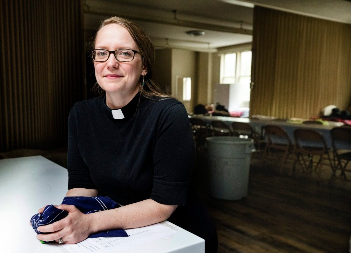 Rev. Kori McMurtry shows a visitor First Presbyterian Church's social distancing spaces of the women's shelter on March 24, 2020. (Ziggy Mack/Special to The Daily Memphian)