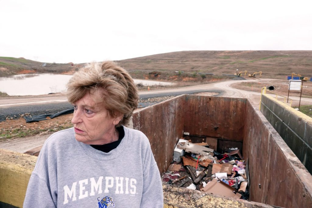 Dahlhoff visits a landfill where she believes evidence in her case was dumped in the 1990s during a massive evidence purge in a Memphis Police Department property room. (Karen Pulfer Focht/Special to The Daily Memphian)