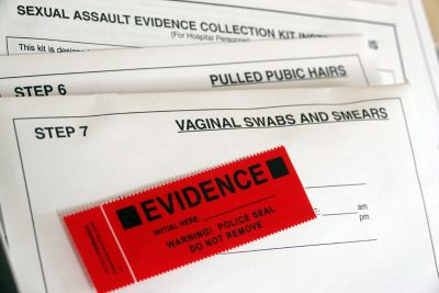 This sample rape kit belongs to activist Meaghan Ybos, who was attacked in 2003 by a serial rapist. Thousands of rape kits went untested in Memphis for decades. Many kits held evidence that if tested might have stopped repeat offenders from attacking additional women. (Karen Pulfer Focht/Special to The Daily Memphian)