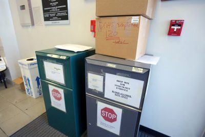 A drop box sits inside the TBI office in Memphis, with forensic evidence that has been collected. (Karen Pulfer Focht/Special to the Daily Memphian)