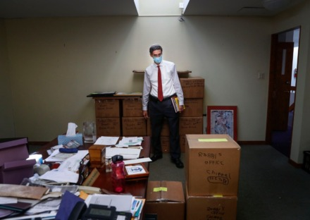 Anshei Sphard Beth El Emeth Rabbi Joel Finkelstein looks over his office that is in the process of being packed up on Wednesday, Oct. 7. (Mark Weber/Daily Memphian)