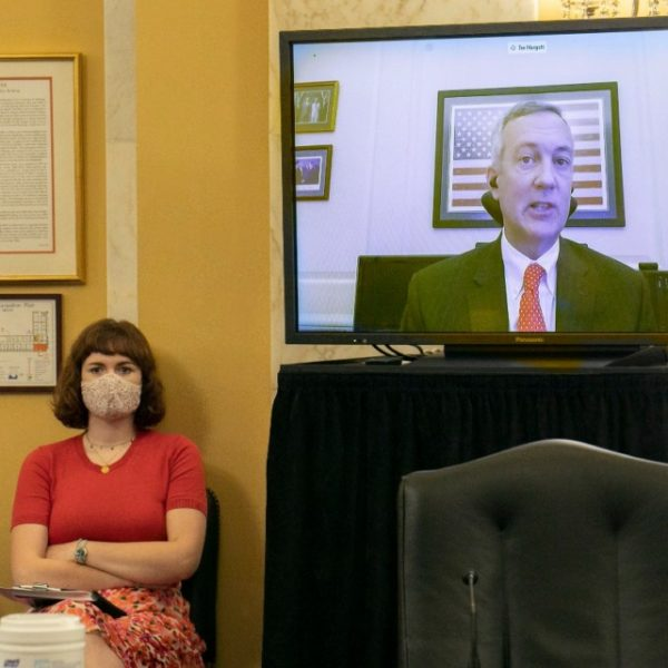 Tre Hargett, Tennessee Secretary of State, speaks via videoconference about the election, Wednesday, July 22, 2020, to the Senate Rules and Administration Committee, on Capitol Hill in Washington. (Jacquelyn Martin/AP)
