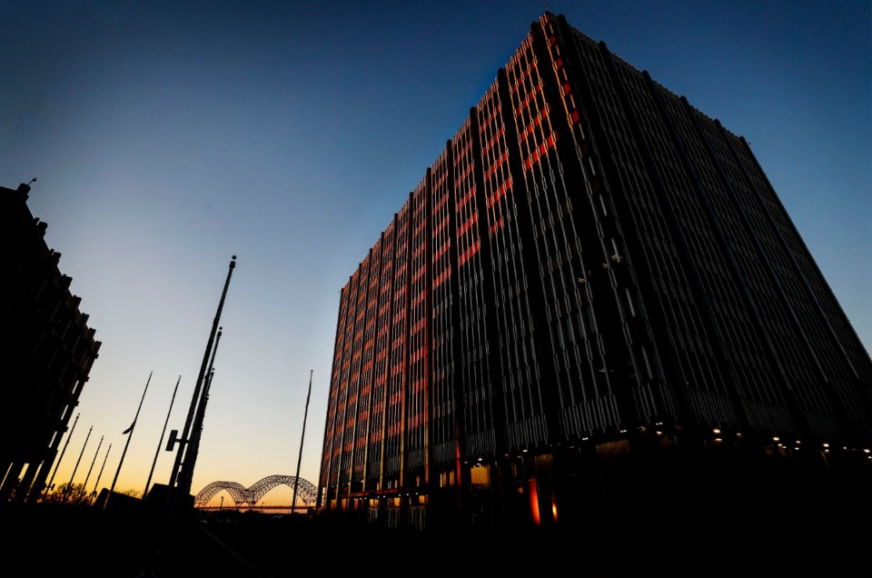 The Clifford Davis-Odell Horton Federal Building, illuminated by the evening sun. Davis, a former congressman, once was a member of the Klan and also a longtime segregationist. (Mark Weber/Daily Memphian)