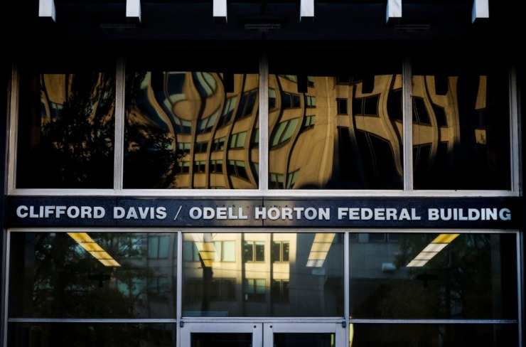 The Clifford Davis-Odell Horton Federal Building east entrance. (Mark Weber/Daily Memphian)