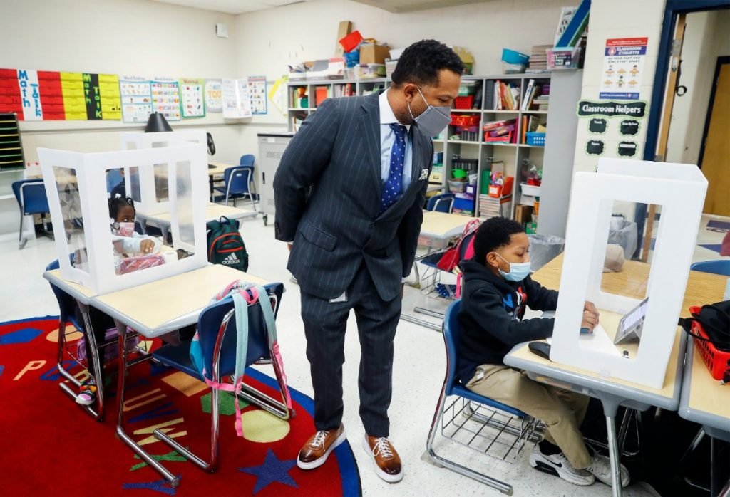Shelby County Schools' Chief Academic Officer Dr. Antonio Burt looks on a second grade class at Brewster Elementary on Tuesday, April 27, 2021. (Mark Weber/The Daily Memphian)