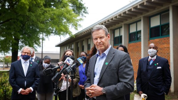Gov. Bill Lee fields question from the media after meeting teachers and students at Hanley Elementary on Friday, April 23, 2021, in Orange Mound. (Mark Weber/The Daily Memphian)