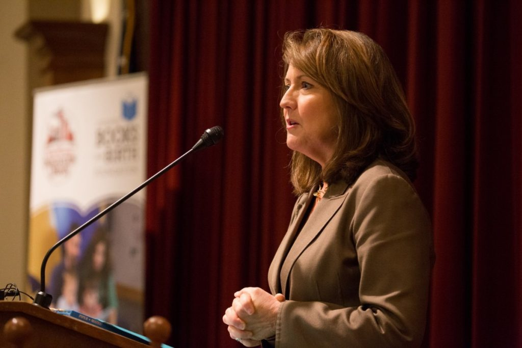 """""""You need to be learning to read very well right now because next year, it's more about reading to learn,"""" Crissy Haslam (in a file photo) told children at Hanley Elementary during a 2011 visit. (The Daily Memphian)"""
