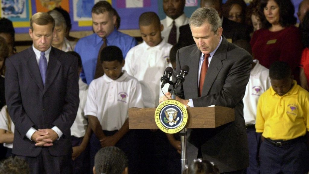 President George W. Bush observed a moment of silence on Sept. 11, 2001, at the Emma E. Booker Elementary School in Sarasota, Florida, for victims of the terrorist attacks. Bush had chosen the school in one of Sarasota's poorest neighborhoods to launch a national reading campaign. Though the day forever altered Bush's presidential priorities, it didn't end his push for education reform. (Chris O'Meara/AP file)