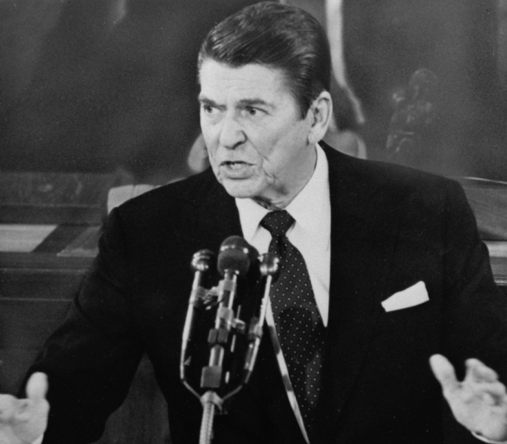 """During President Ronald Reagan's February 1982 State of the Union address, he said, """"Our citizens feel they've lost control of even the most basic decisions made about the essential services of government, such as schools."""" (AP Photo, File)"""