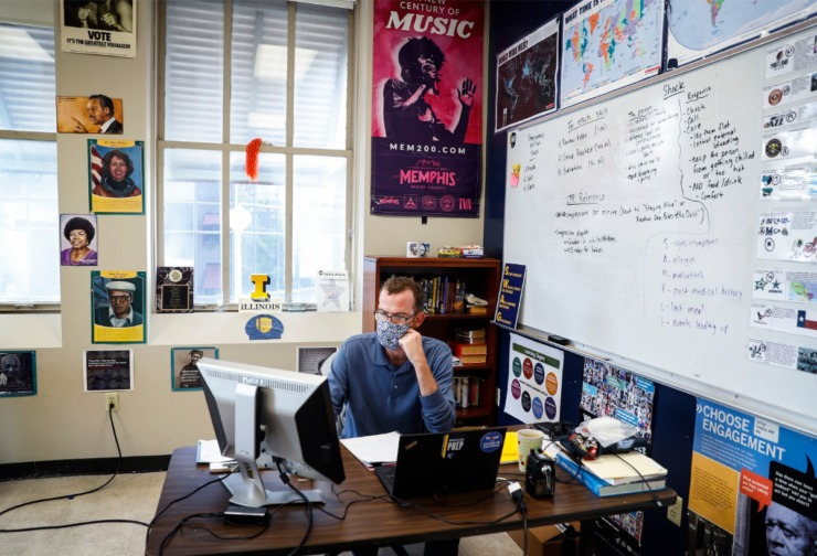 """Eddie Walsh teaches eighth-grade social studies at Grizzlies Prep. """"I refuse to lie to my students,"""" he wrote on a Pledge to Teach the Truth. (Mark Weber/Daily Memphian)"""