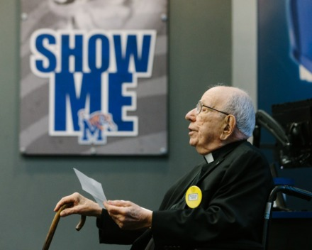 Father Vieron leads benediction for weekly Tigers Touchdown Club meeting at University of Memphis South Campus on Sept. 16, 2019.(Ziggy Mack/ Special to The Daily Memphian file)